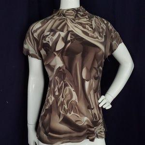 ESCADA silk high neck abstract print blouse